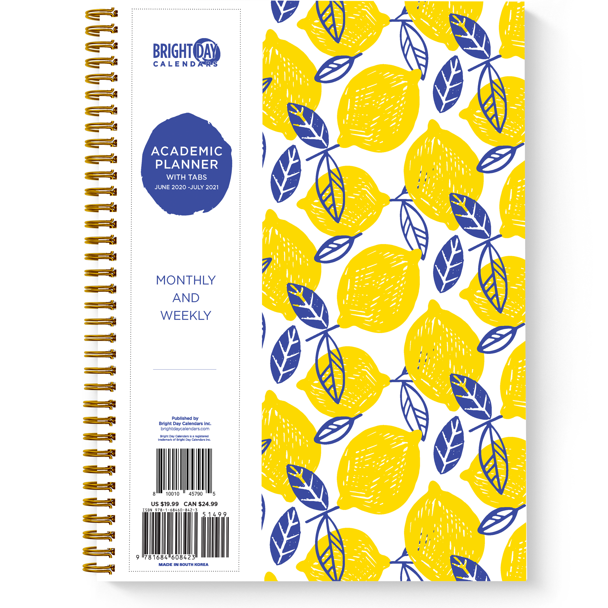 Planner Lemons Yearly Monthly Weekly Daily Calendar Organizer-Bright Day