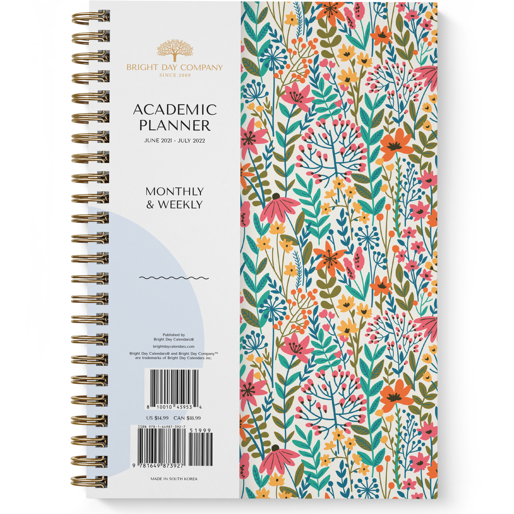 Floral Academic Planner by Bright Day, June 2021 - July 2022, 8.25 x 6.25