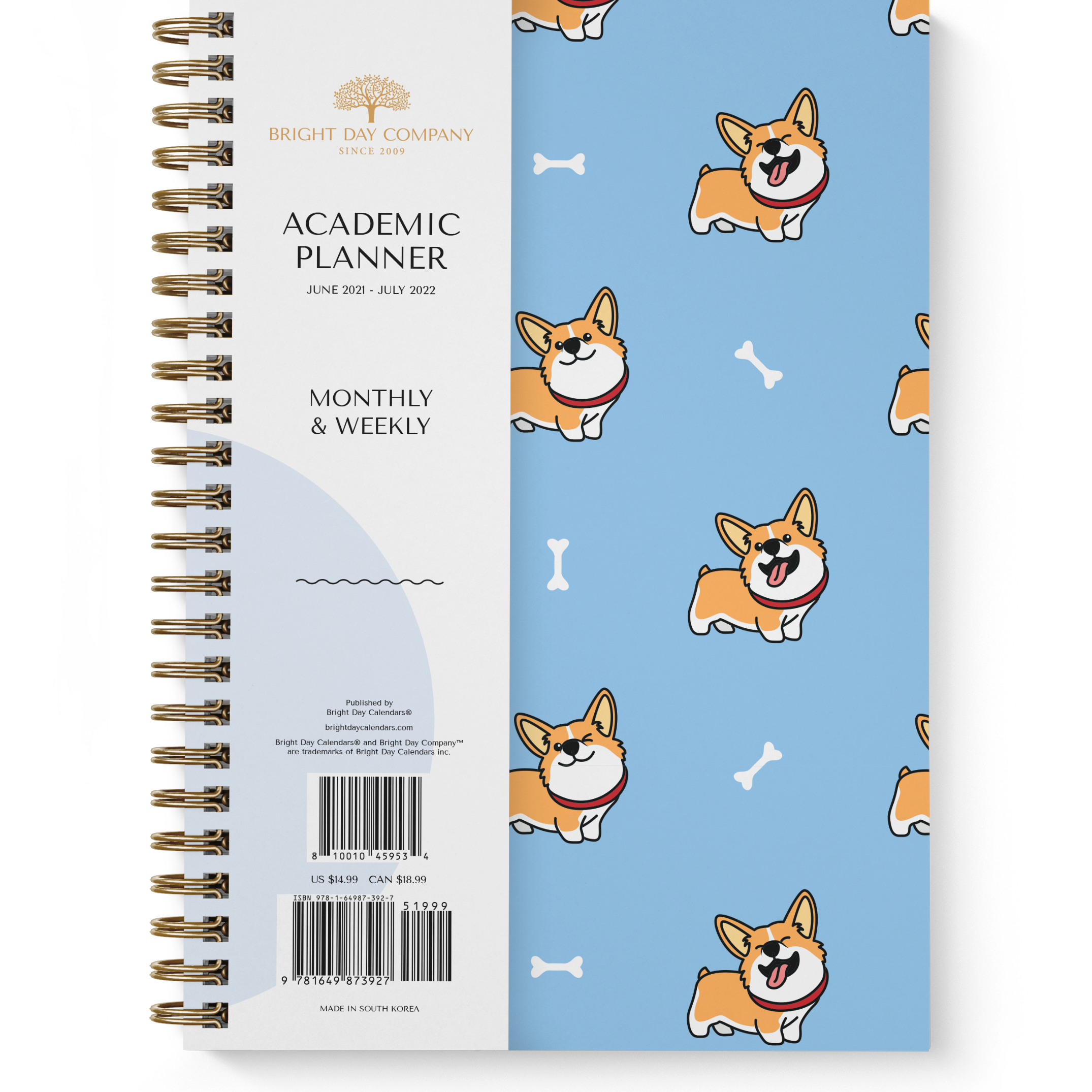 Corgi Academic Planner by Bright Day, June 2021 - July 2022, 8.25 x 6.25