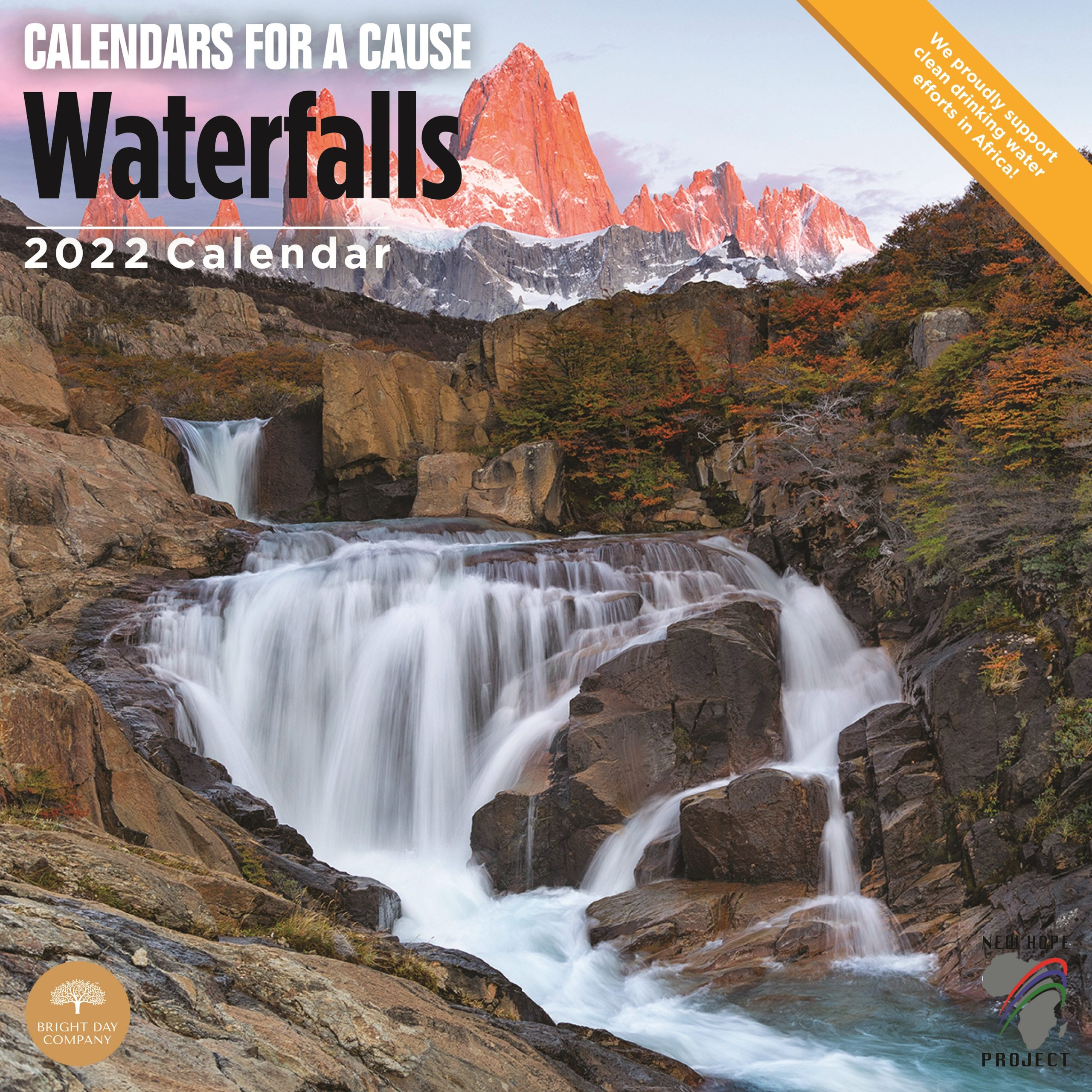 2022 Waterfalls Calendars for a Cause Wall Calendar by Bright Day, 12 x 12 Inch